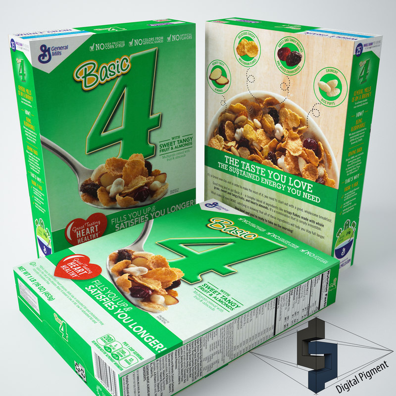 3d model basic 4 cereal box