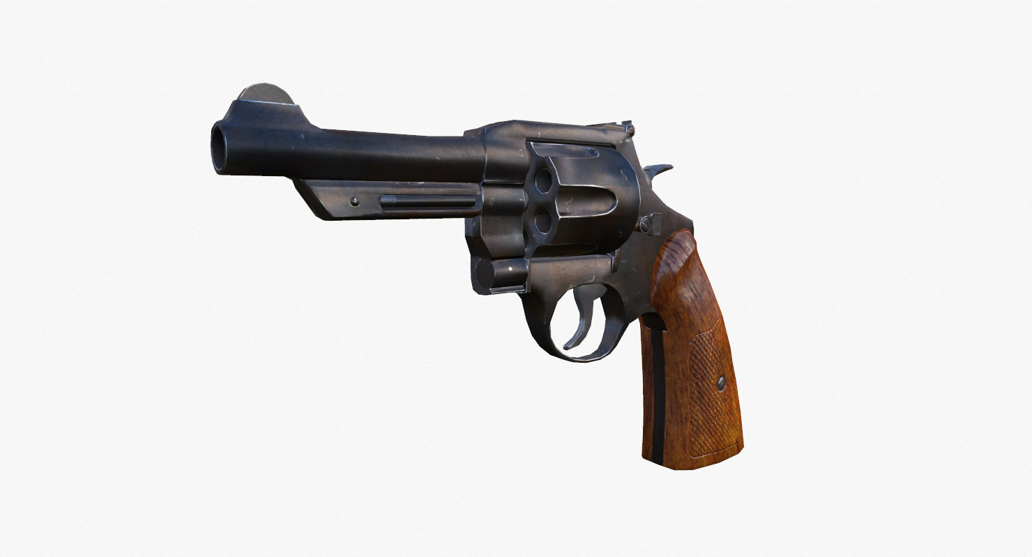 3d revolver games gun model