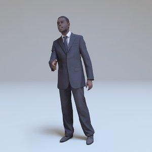 kenyan businessman greeting people human 3d model