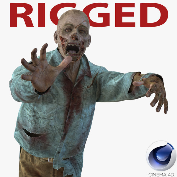 3d zombie rigged model