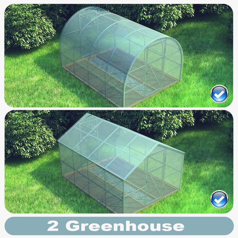 3d model of set 2 greenhouses