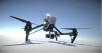 dji inspire quadcopter low poly model