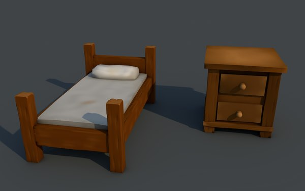 bed chest drawers 3d model