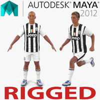3d soccer player juventus rigged model