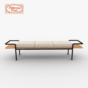 poltrona frau t904 bench 3d model
