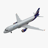 3d model airbus a320 aeroflot animation