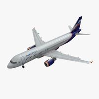 3d model airbus a320 aeroflot animation