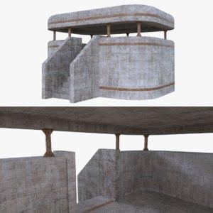 bunker blender post 3d obj