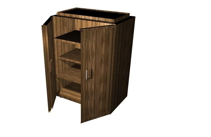 3d simple wooden wardrobe closet model