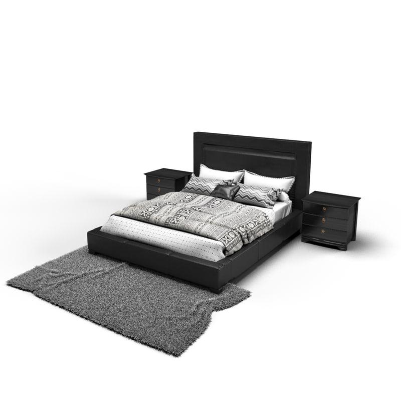 obj dark bed - complete