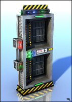 sci-fi wall machine 3d ma