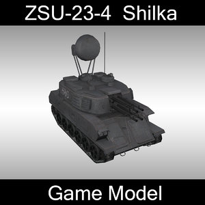 3d max low-poly zsu-23-4 shilka