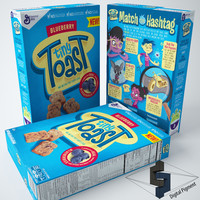 3d model tiny toast blueberry cereal box