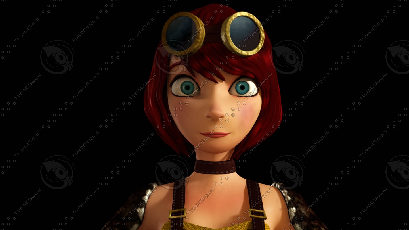 3d model red girl steampunk