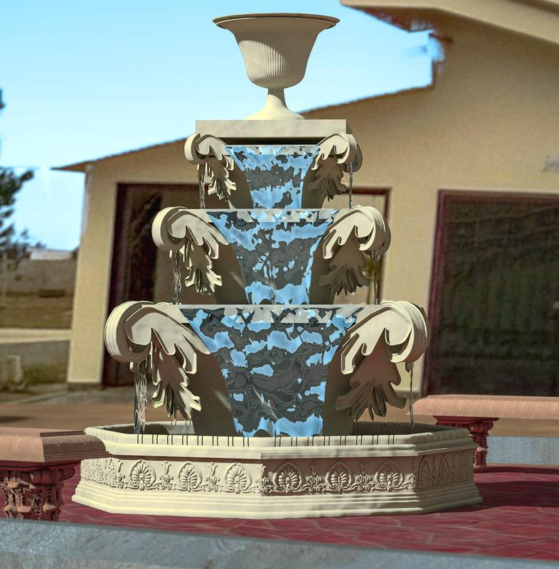classic fountain 3d max