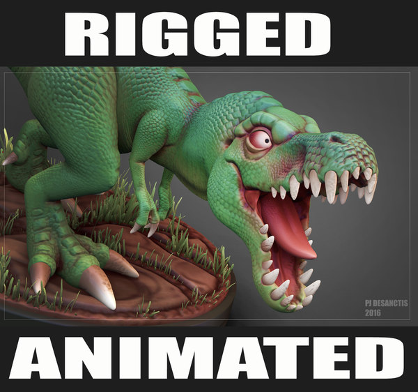 rigged t-rex animation rex 3d model
