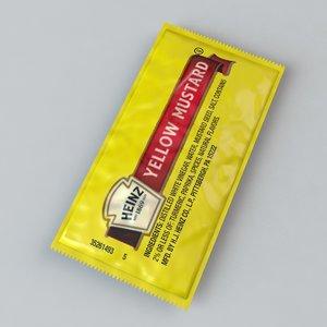 heinz yellow mustard packet 3d c4d