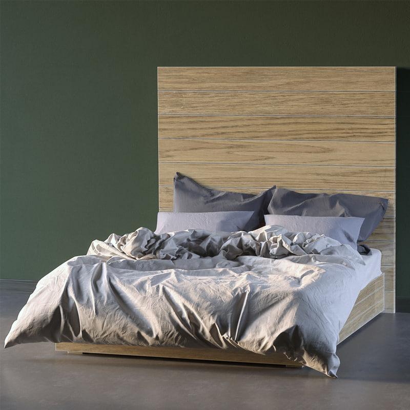 3d wood bed model