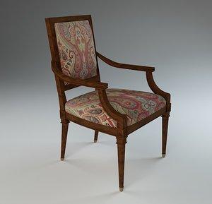 3d model antique desk chair