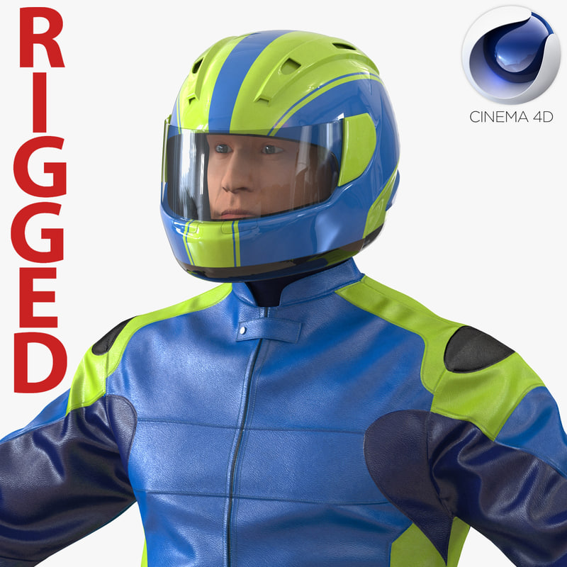 3d motorcycle rider generic rigged