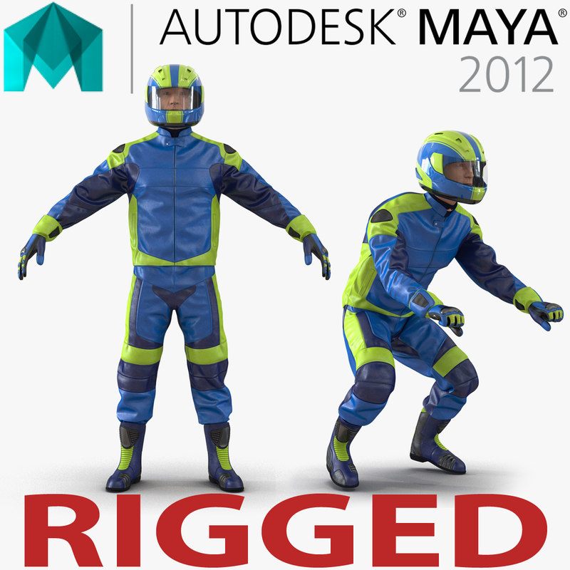 motorcycle rider generic rigged 3d ma