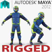 Motorcycle Rider Generic Rigged for Maya