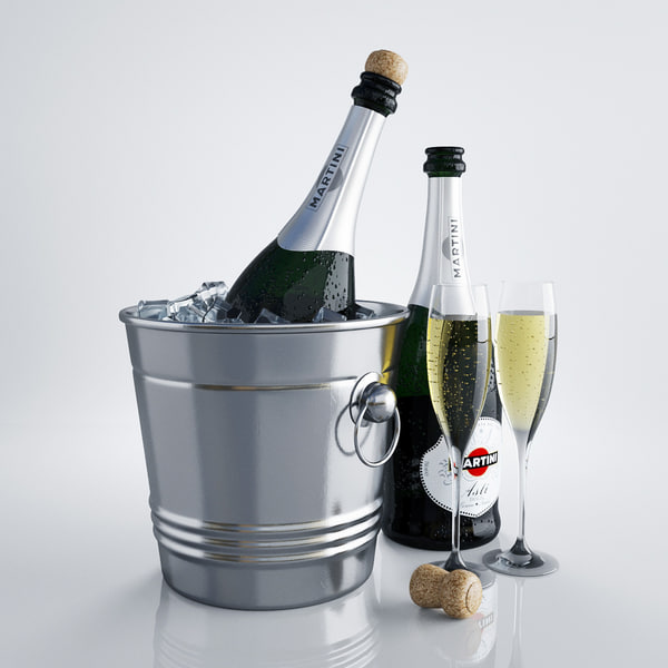 champagne bottles glasses 3d model