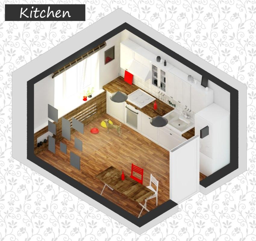 3d low-poly kitchen