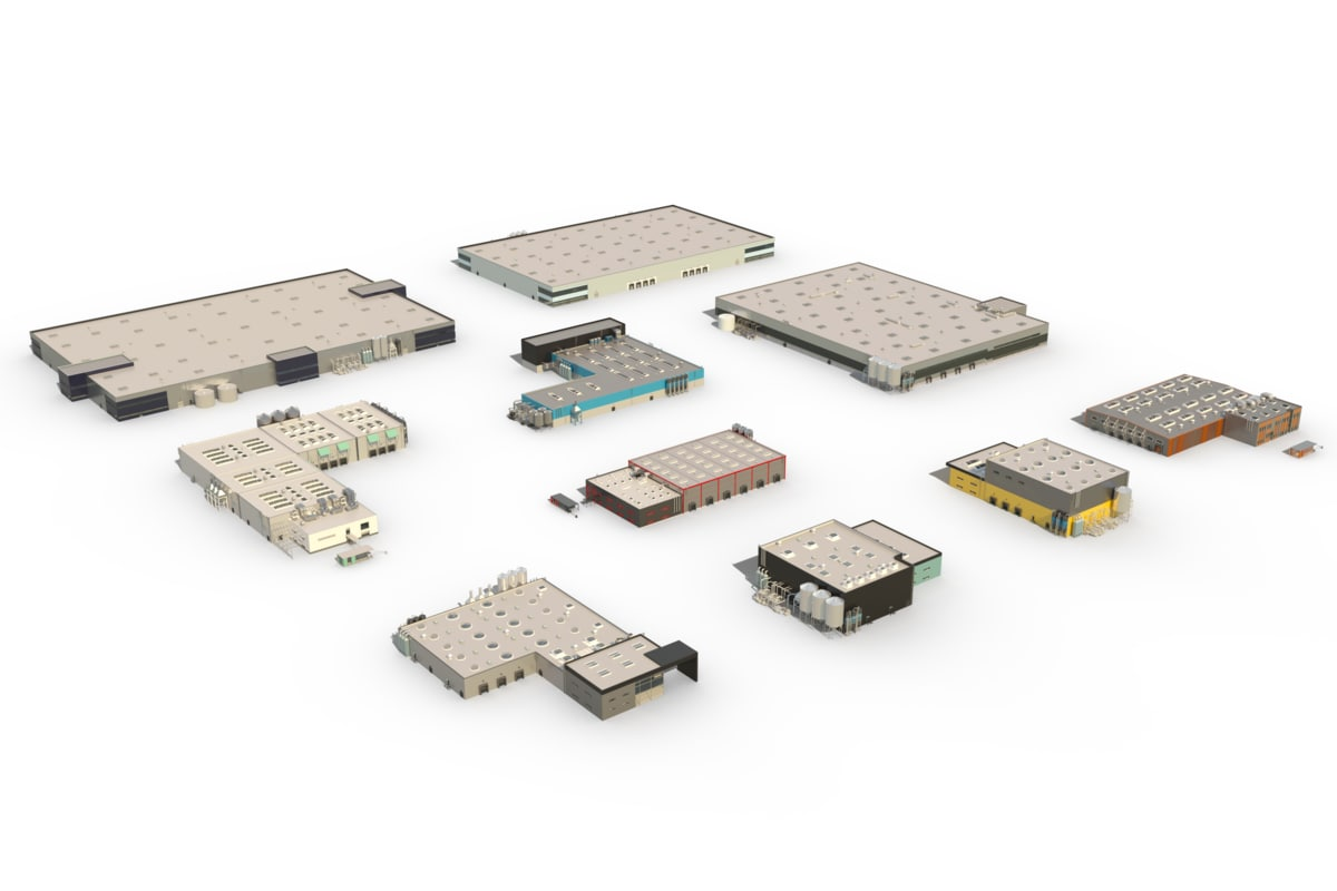 3d package industrial buildings model