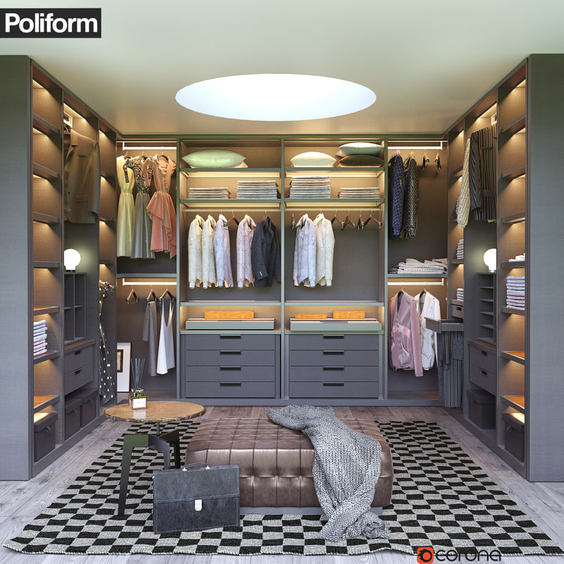Walk in closet Black We Heart It Poliform Senzafine Walkin Closet 3d Model