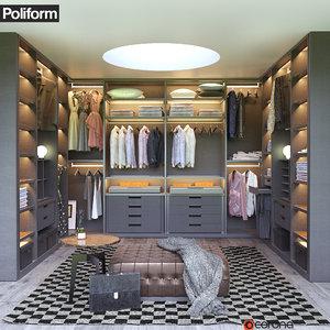 poliform senzafine walk-in closet 3d model