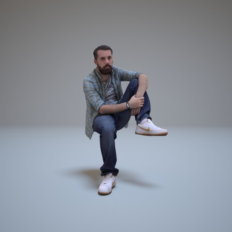 3d bearded man sitting people human