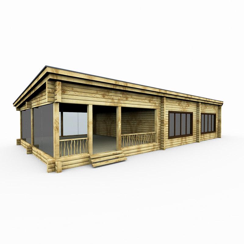 3d model wood sauna log