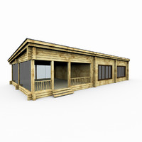 3d model wood sauna log