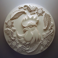 3d relief chicken with patterns