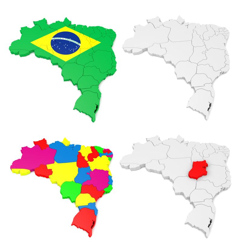 3d model brazil colors flag