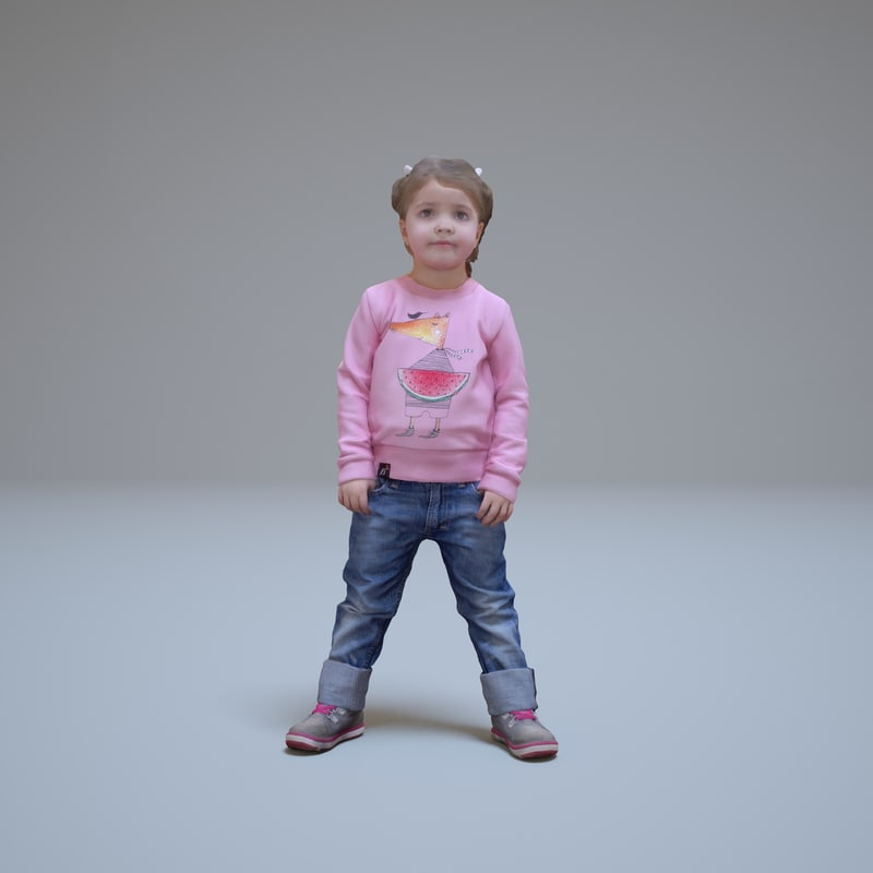 3d model girl pink people human