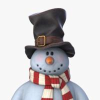 3d snowman v-ray pbr model