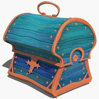 Chest stylized ancient marine old retro treasure cartoon lowpoly VR