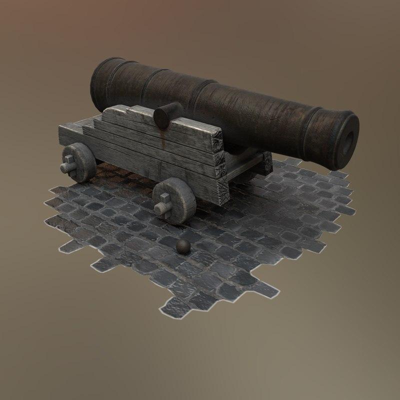 ready antique wooden cannon 3d x