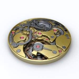 3d watch mechanism model