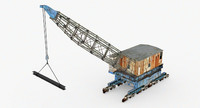 3d old rail dock crane