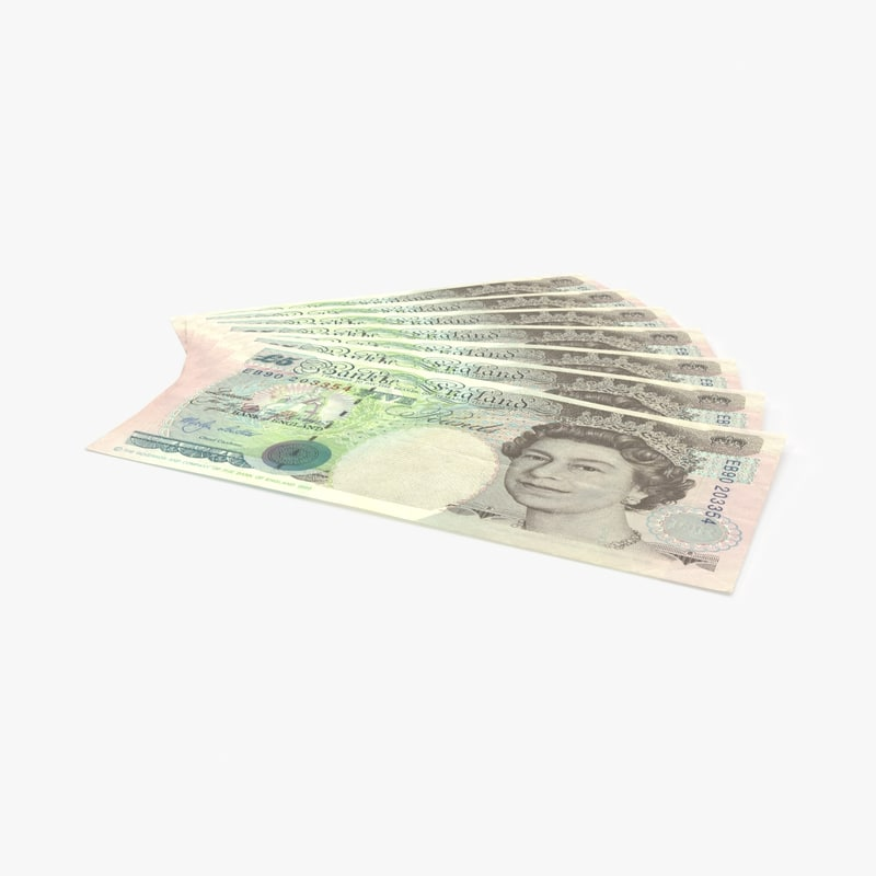 5 pound note fanned 3d model
