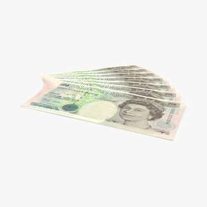 5 pound note fanned 3d model