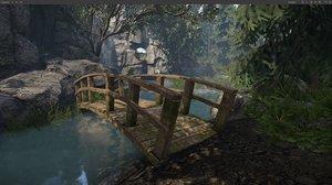 3d wooden bridge wood