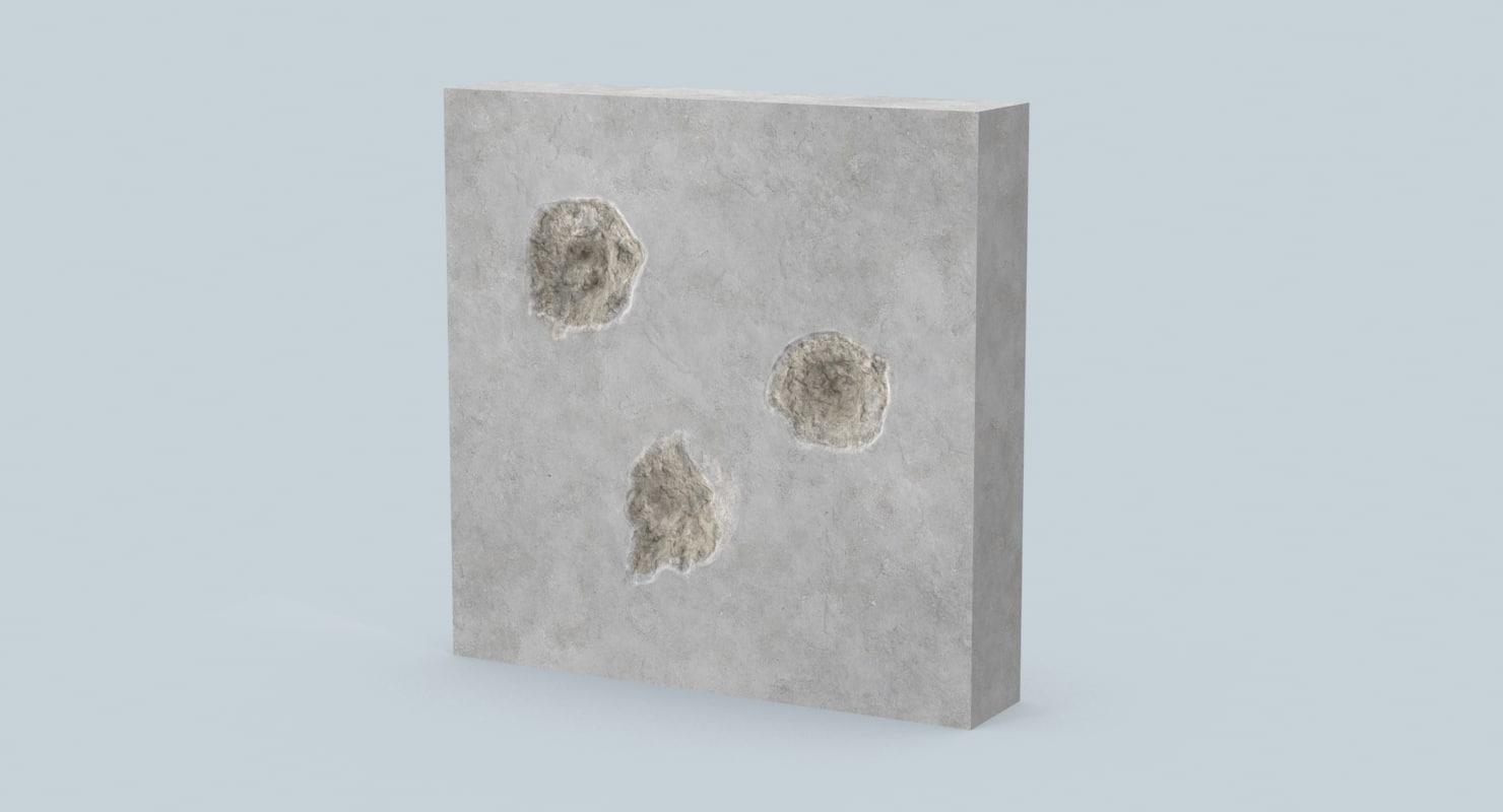max impacts bullet holes concrete
