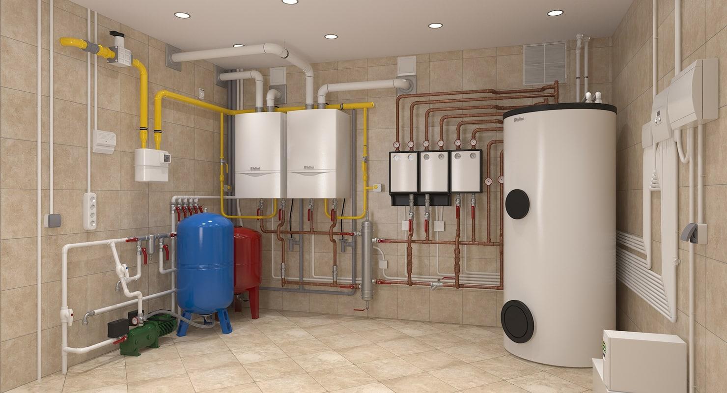 3d boiler house interior