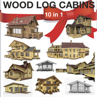 3d model wooden log houses 10