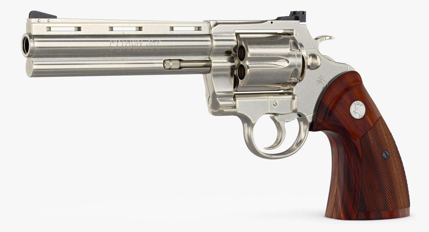 revolver colt python 3d model