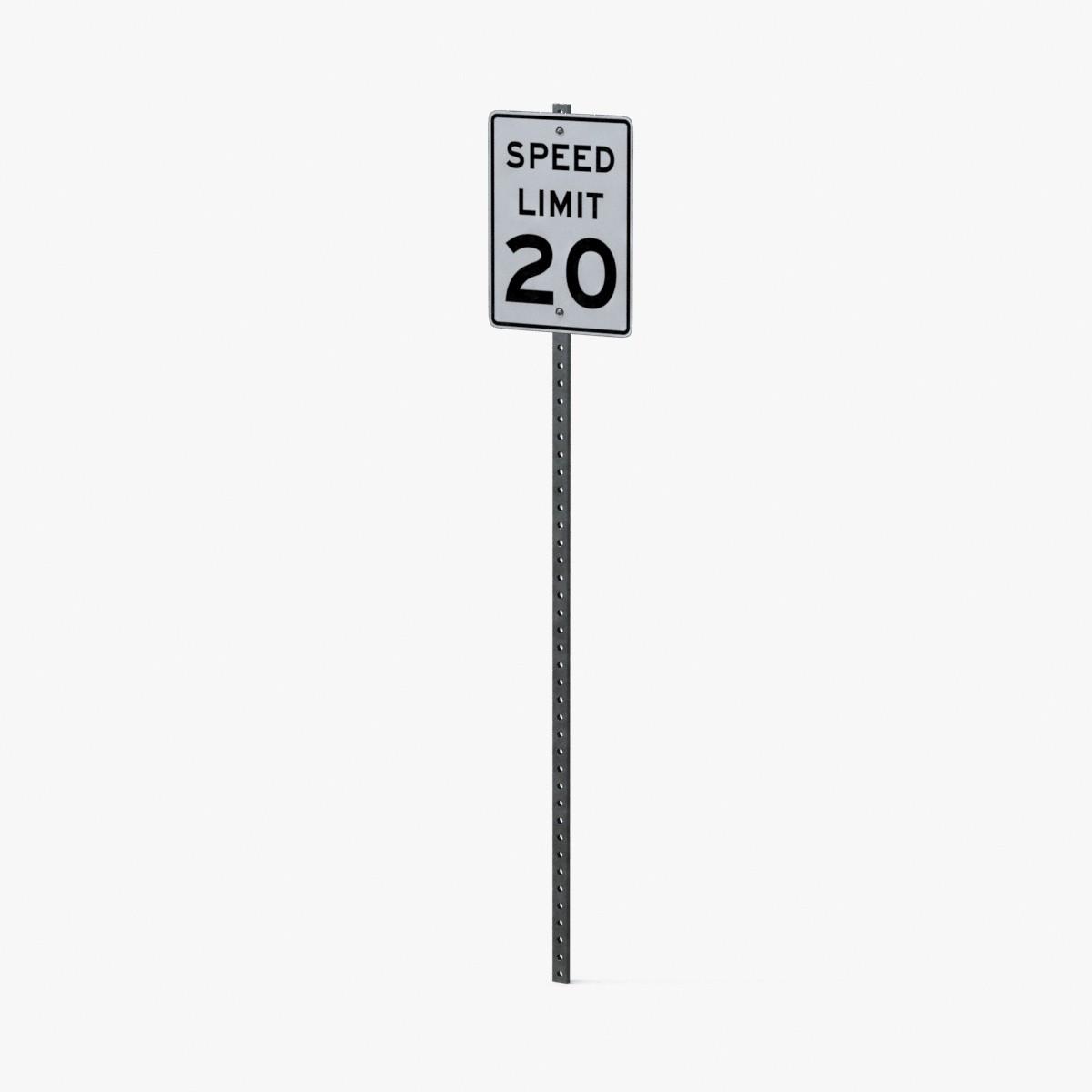 speed limit sign 20 3d model